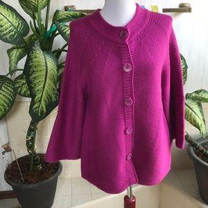 Ashley Judd raspberry 3/4 sleeve sweater